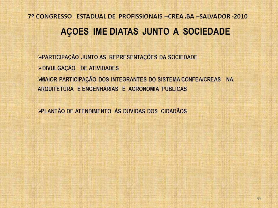 7º CONGRESSO ESTADUAL DE PROFISSIONAIS –CREA.BA –SALVADOR -2010 SE A HUMANIDADE QUER UM OUTRO FUTURO RECONHECIVEL, NÃO PODE SER PELO PROLONGAMENTO DO PASSADO OU DO PRESENTE.