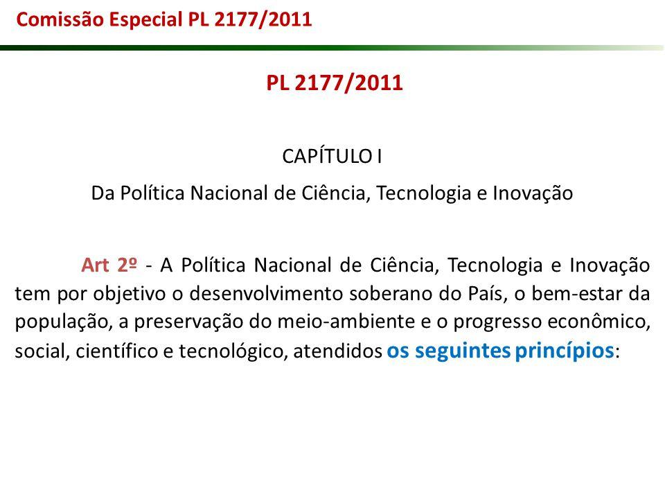 PL 2177/2011 CAPÍTULO I Da Política Nacional de Ciência, Tecnologia e Inovação Art 2º - A Política Nacional de Ciência, Tecnologia e Inovação tem por