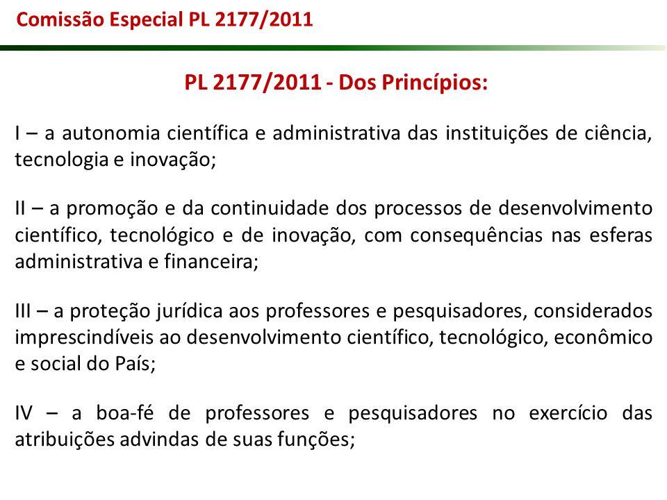 PL 2177/2011 - Dos Princípios: I – a autonomia científica e administrativa das instituições de ciência, tecnologia e inovação; II – a promoção e da co