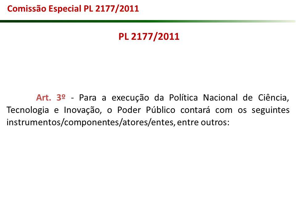 PL 2177/2011 Art. 3º - Para a execução da Política Nacional de Ciência, Tecnologia e Inovação, o Poder Público contará com os seguintes instrumentos/c