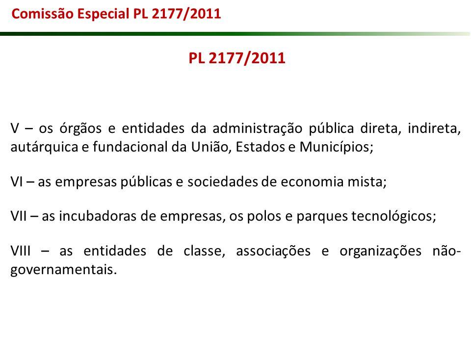PL 2177/2011 V – os órgãos e entidades da administração pública direta, indireta, autárquica e fundacional da União, Estados e Municípios; VI – as emp