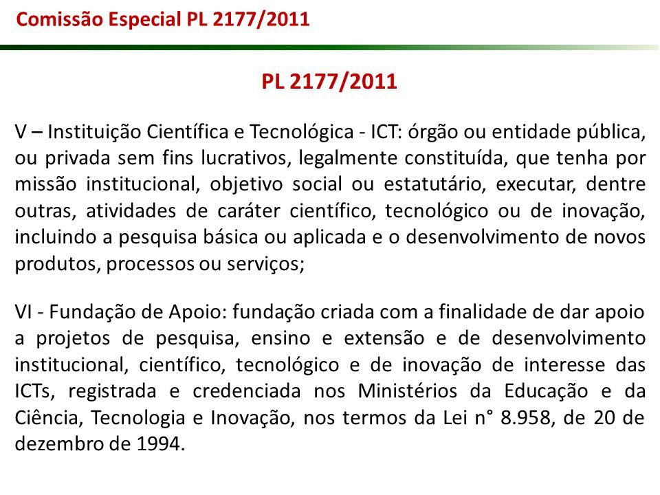 PL 2177/2011 V – Instituição Científica e Tecnológica - ICT: órgão ou entidade pública, ou privada sem fins lucrativos, legalmente constituída, que te