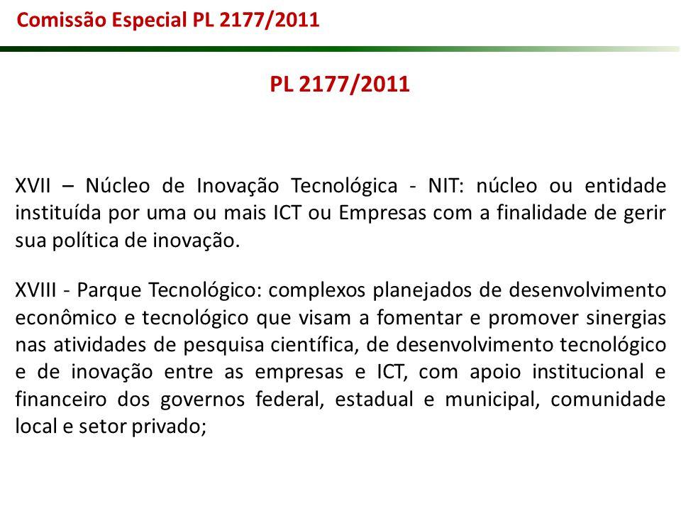 PL 2177/2011 XVII – Núcleo de Inovação Tecnológica - NIT: núcleo ou entidade instituída por uma ou mais ICT ou Empresas com a finalidade de gerir sua