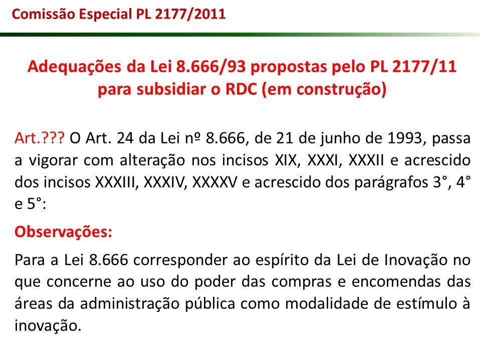 Adequações da Lei 8.666/93 propostas pelo PL 2177/11 para subsidiar o RDC (em construção) Art.??? O Art. 24 da Lei nº 8.666, de 21 de junho de 1993, p