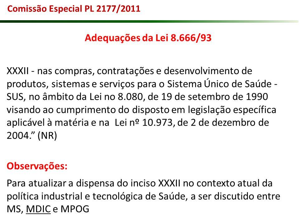 Comissão Especial PL 2177/2011 Adequações da Lei 8.666/93 XXXII - nas compras, contratações e desenvolvimento de produtos, sistemas e serviços para o