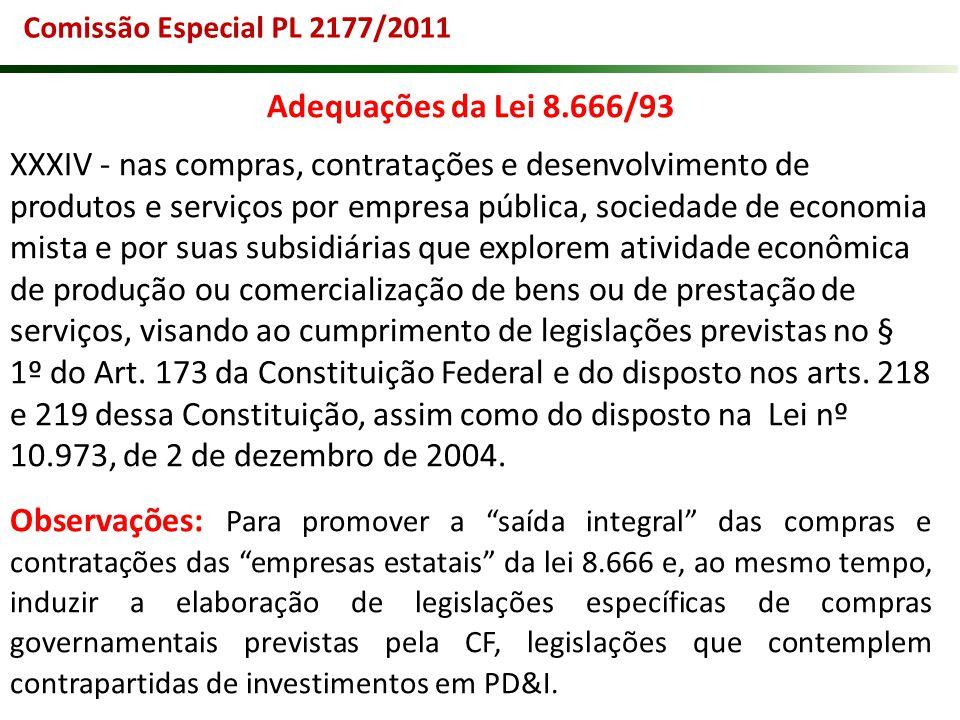 Comissão Especial PL 2177/2011 Adequações da Lei 8.666/93 XXXIV - nas compras, contratações e desenvolvimento de produtos e serviços por empresa públi
