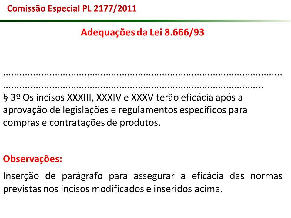 Comissão Especial PL 2177/2011 Adequações da Lei 8.666/93.............................................................................................