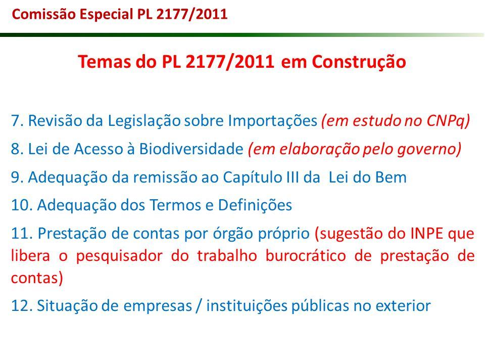 Temas do PL 2177/2011 em Construção 7. Revisão da Legislação sobre Importações (em estudo no CNPq) 8. Lei de Acesso à Biodiversidade (em elaboração pe