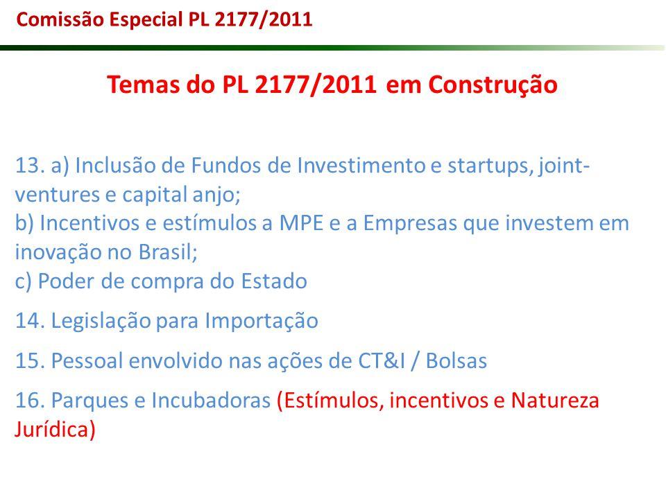 Temas do PL 2177/2011 em Construção 13. a) Inclusão de Fundos de Investimento e startups, joint- ventures e capital anjo; b) Incentivos e estímulos a
