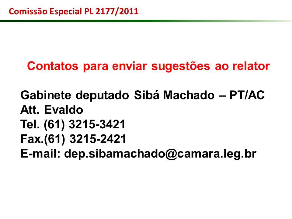 Contatos para enviar sugestões ao relator Gabinete deputado Sibá Machado – PT/AC Att. Evaldo Tel. (61) 3215-3421 Fax.(61) 3215-2421 E-mail: dep.sibama