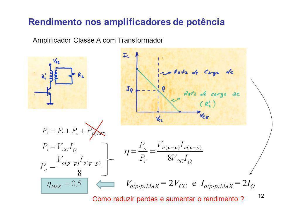 Rendimento nos amplificadores de potência Amplificador Classe A com Transformador V o(p-p)MAX = 2V CC e I o(p-p)MAX = 2I Q Como reduzir perdas e aumen