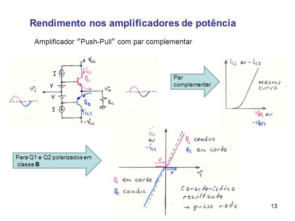 Rendimento nos amplificadores de potência Amplificador Push-Pull com par complementar Par complementar Para Q1 e Q2 polarizados em classe B 13