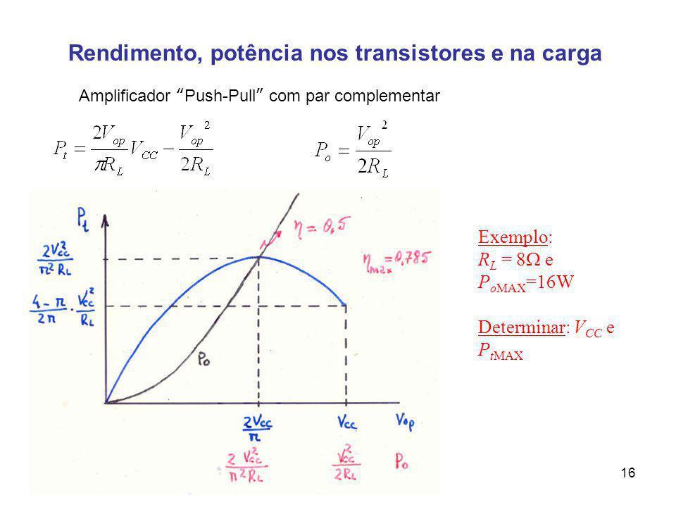 Rendimento, potência nos transistores e na carga Amplificador Push-Pull com par complementar Exemplo: R L = 8 e P oMAX =16W Determinar: V CC e P tMAX