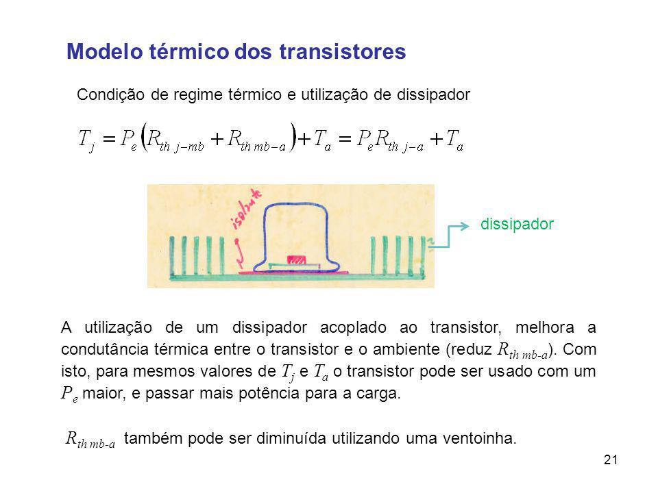 Modelo térmico dos transistores Condição de regime térmico e utilização de dissipador 21 A utilização de um dissipador acoplado ao transistor, melhora a condutância térmica entre o transistor e o ambiente (reduz R th mb-a ).