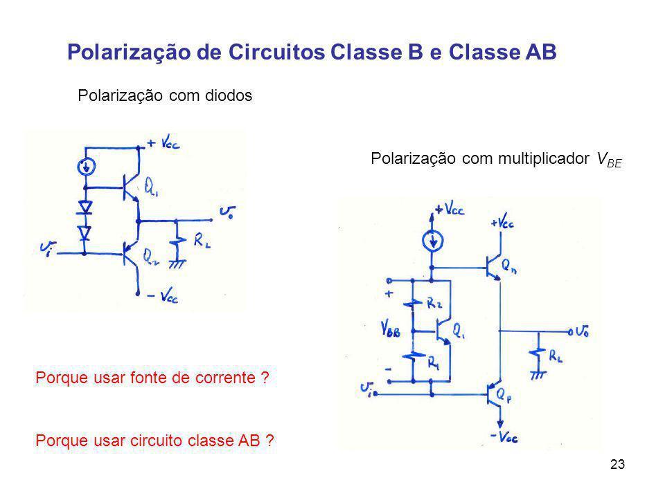 Polarização de Circuitos Classe B e Classe AB Polarização com diodos 23 Porque usar fonte de corrente ? Polarização com multiplicador V BE Porque usar