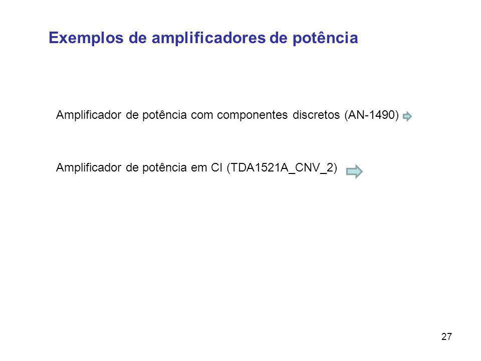 Exemplos de amplificadores de potência 27 Amplificador de potência com componentes discretos (AN-1490) Amplificador de potência em CI (TDA1521A_CNV_2)