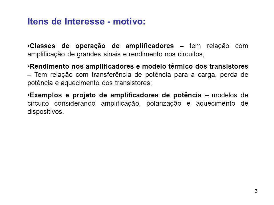 Itens de Interesse - motivo: Classes de operação de amplificadores – tem relação com amplificação de grandes sinais e rendimento nos circuitos; Rendim