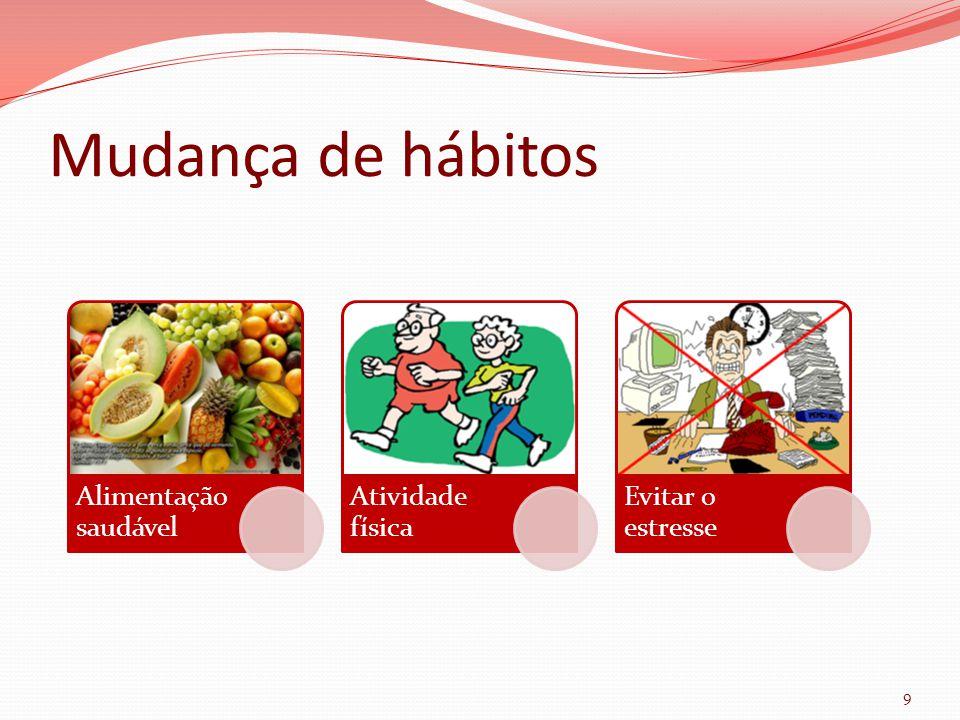 Mudança de hábitos 9 Alimentação saudável Atividade física Evitar o estresse