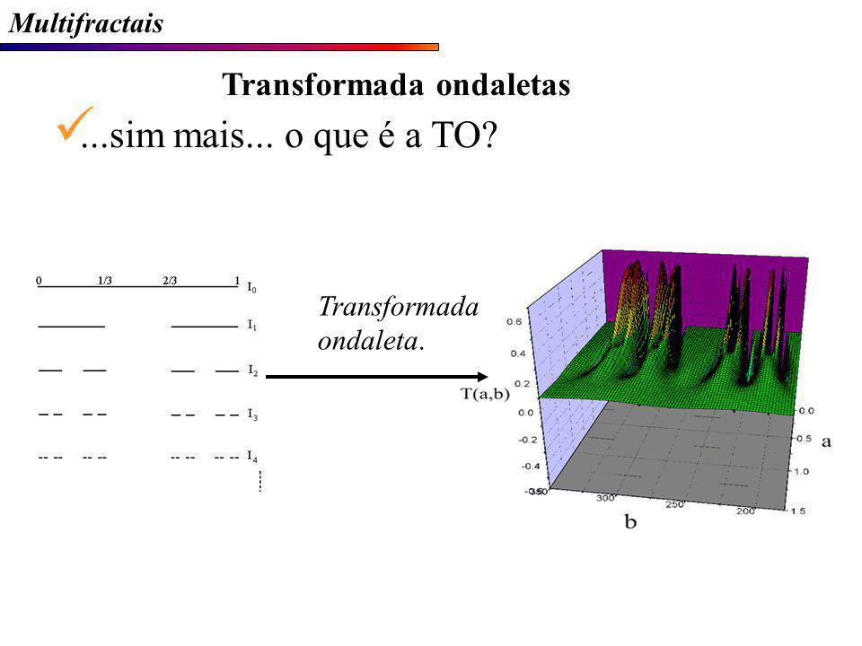 Multifractais Transformada ondaletas...sim mais... o que é a TO? Transformada ondaleta.