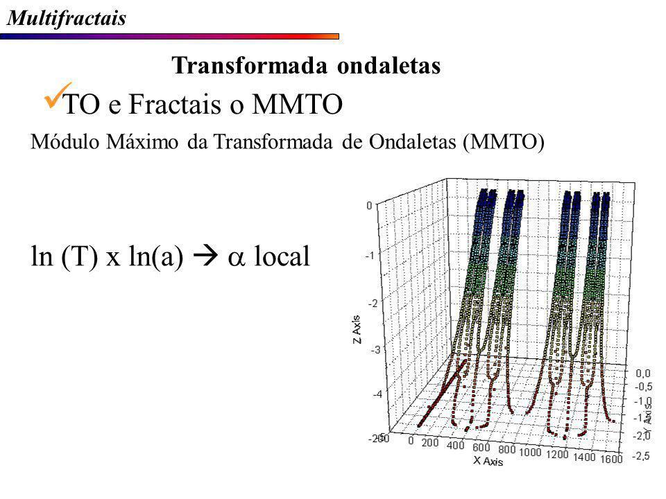 Multifractais Transformada ondaletas TO e Fractais o MMTO ln (T) x ln(a) local Módulo Máximo da Transformada de Ondaletas (MMTO)