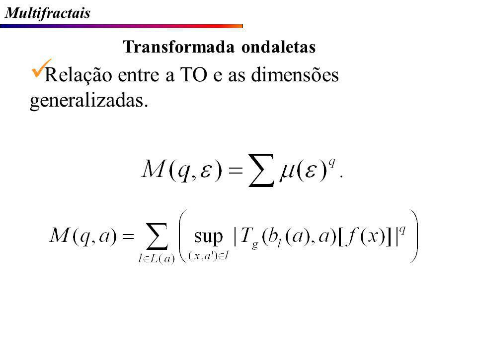 Multifractais Transformada ondaletas Relação entre a TO e as dimensões generalizadas.
