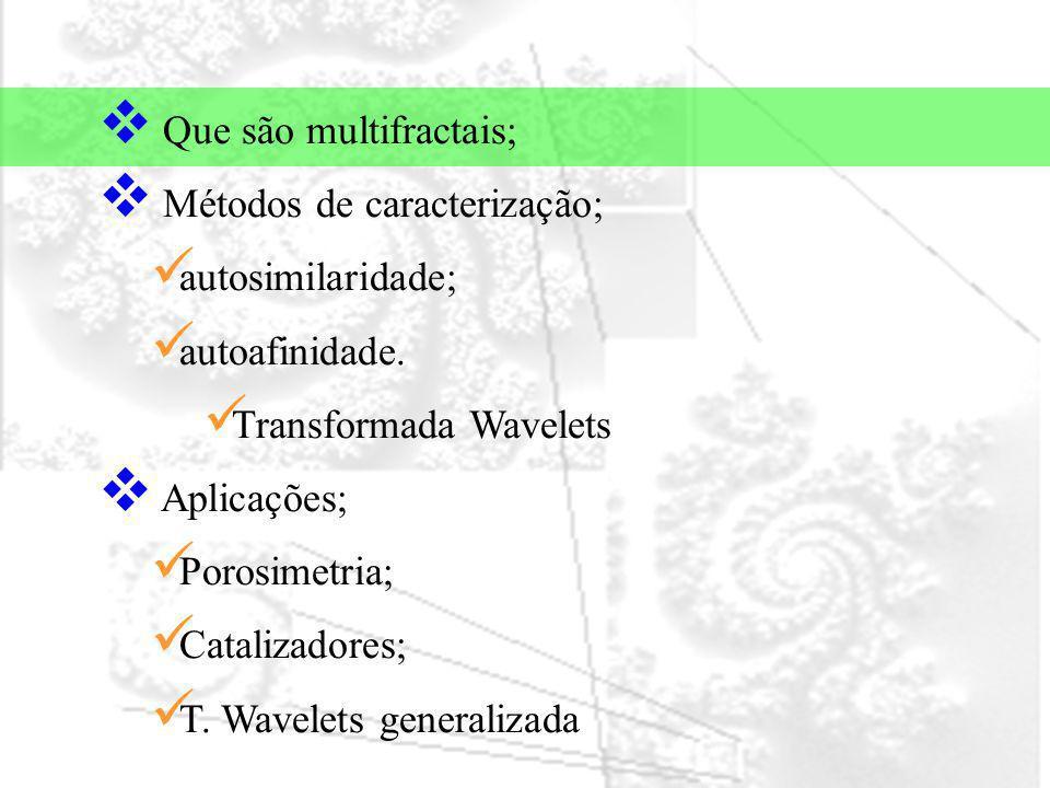 Que são multifractais; Métodos de caracterização; autosimilaridade; autoafinidade. Transformada Wavelets Aplicações; Porosimetria; Catalizadores; T. W