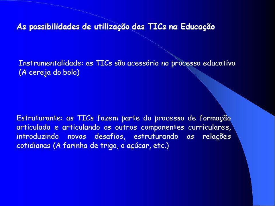 As possibilidades de utilização das TICs na Educação Instrumentalidade: as TICs são acessório no processo educativo (A cereja do bolo) Estruturante: as TICs fazem parte do processo de formação articulada e articulando os outros componentes curriculares, introduzindo novos desafios, estruturando as relações cotidianas (A farinha de trigo, o açúcar, etc.)