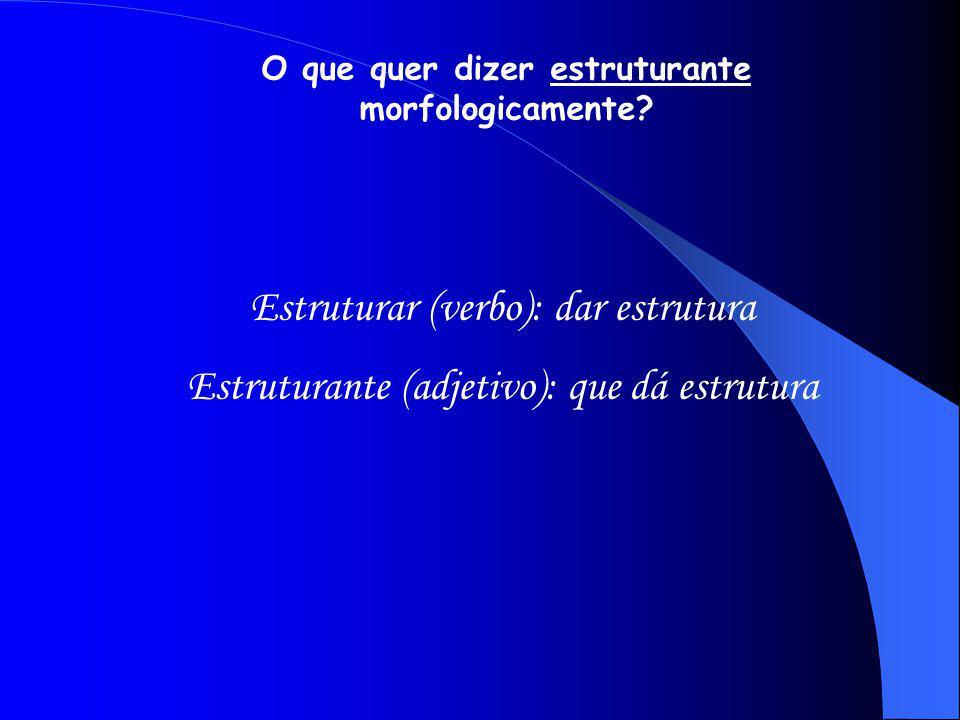 Estruturar (verbo): dar estrutura Estruturante (adjetivo): que dá estrutura O que quer dizer estruturante morfologicamente?