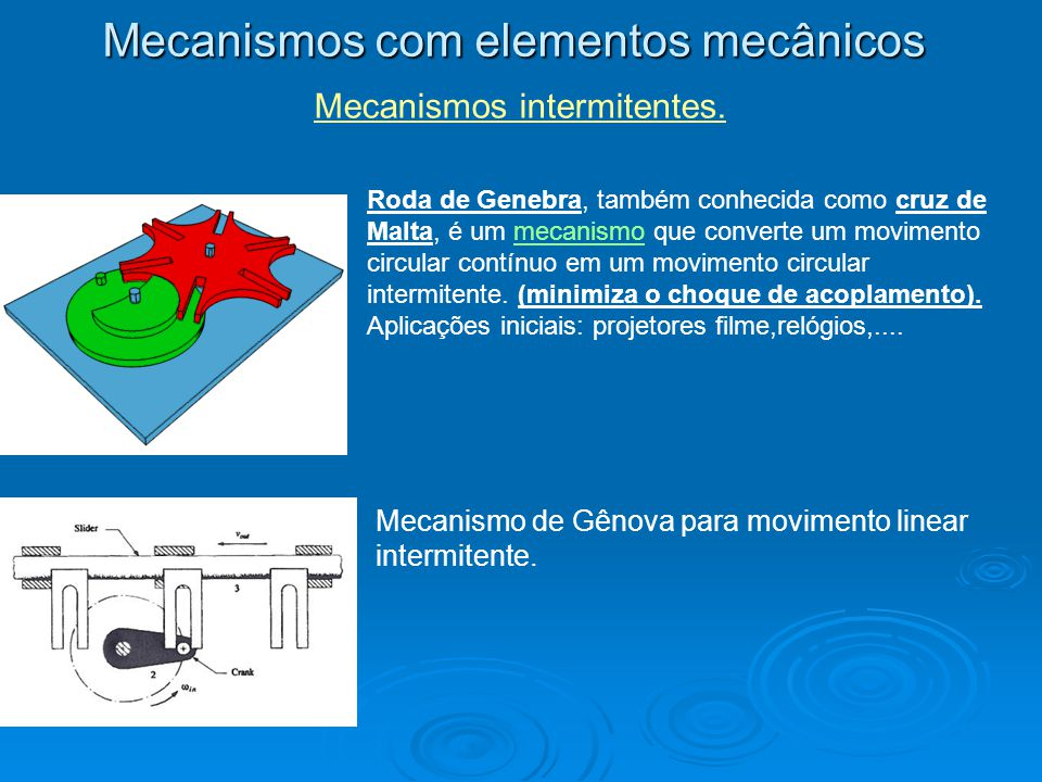 Mecanismos com elementos mecânicos Mecanismos intermitentes. Roda de Genebra, também conhecida como cruz de Malta, é um mecanismo que converte um movi