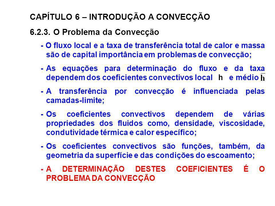 CAPÍTULO 6 – INTRODUÇÃO A CONVECÇÃO 6.2.3. O Problema da Convecção - O fluxo local e a taxa de transferência total de calor e massa são de capital imp