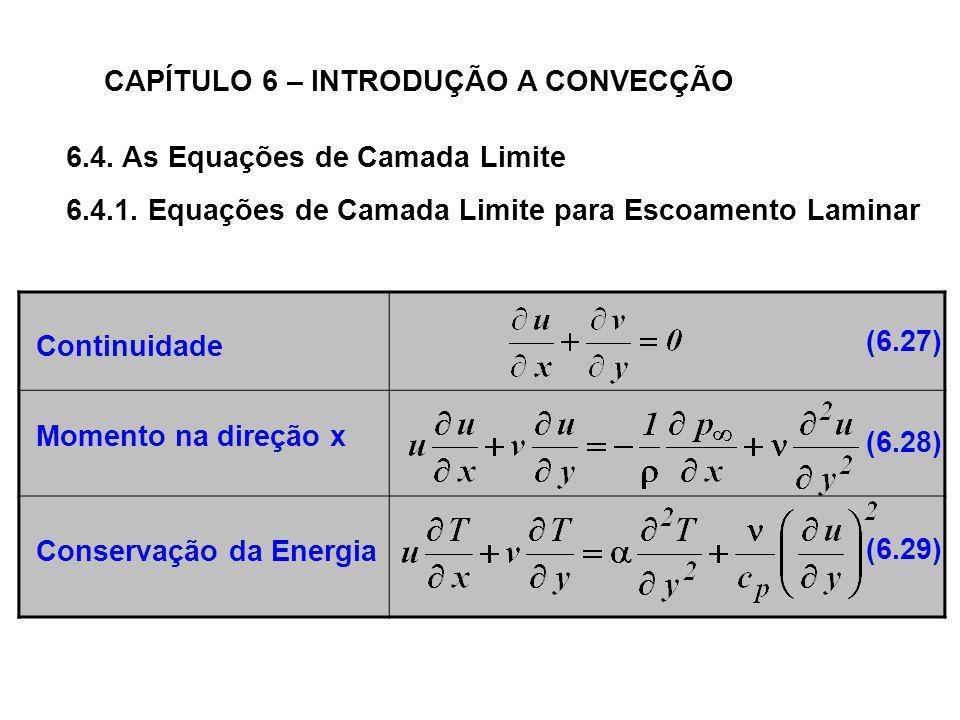 6.4. As Equações de Camada Limite CAPÍTULO 6 – INTRODUÇÃO A CONVECÇÃO 6.4.1. Equações de Camada Limite para Escoamento Laminar Continuidade Momento na