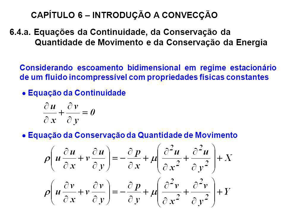 6.4.a. Equações da Continuidade, da Conservação da Quantidade de Movimento e da Conservação da Energia CAPÍTULO 6 – INTRODUÇÃO A CONVECÇÃO Considerand