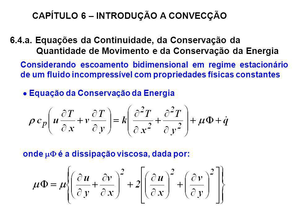 CAPÍTULO 6 – INTRODUÇÃO A CONVECÇÃO Considerando escoamento bidimensional em regime estacionário de um fluido incompressível com propriedades físicas