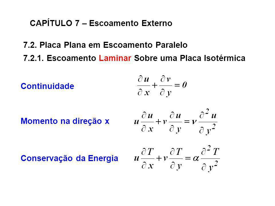 7.2. Placa Plana em Escoamento Paralelo CAPÍTULO 7 – Escoamento Externo Continuidade Momento na direção x Conservação da Energia 7.2.1. Escoamento Lam