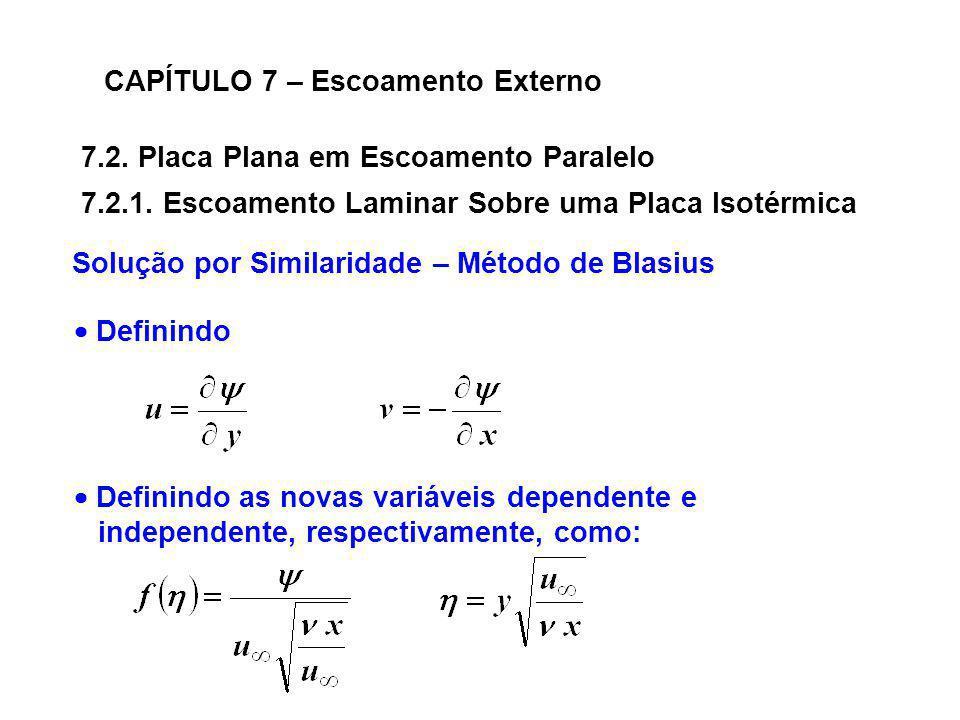 7.2. Placa Plana em Escoamento Paralelo CAPÍTULO 7 – Escoamento Externo Solução por Similaridade – Método de Blasius 7.2.1. Escoamento Laminar Sobre u