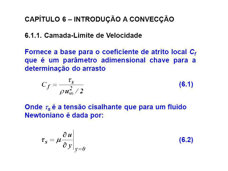CAPÍTULO 6 – INTRODUÇÃO A CONVECÇÃO 6.1.1. Camada-Limite de Velocidade Fornece a base para o coeficiente de atrito local C f que é um parâmetro adimen
