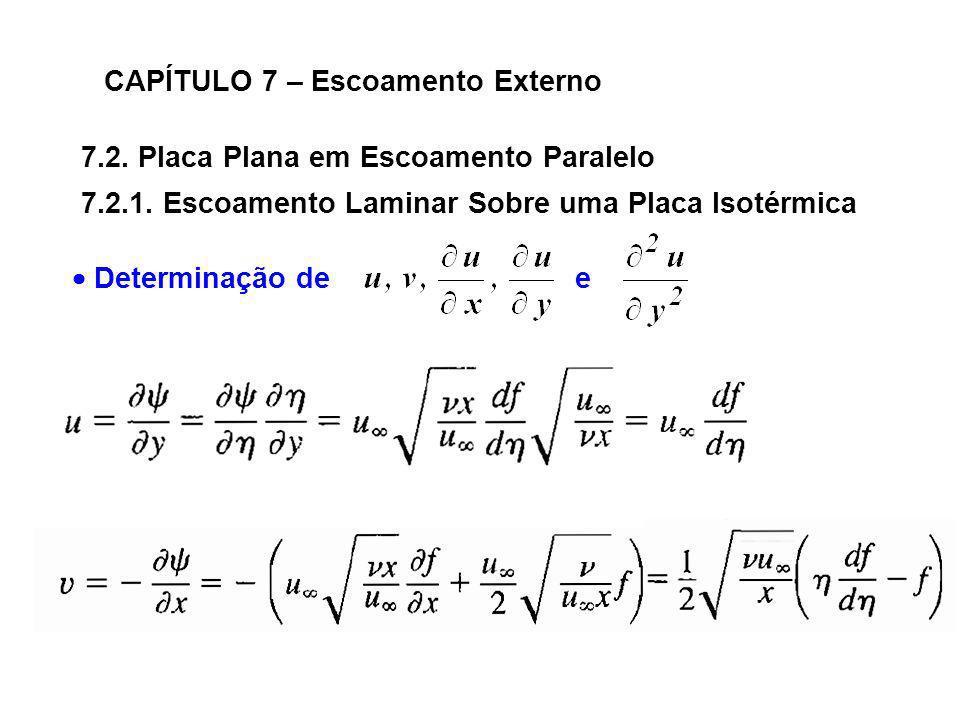 7.2. Placa Plana em Escoamento Paralelo CAPÍTULO 7 – Escoamento Externo 7.2.1. Escoamento Laminar Sobre uma Placa Isotérmica Determinação de e