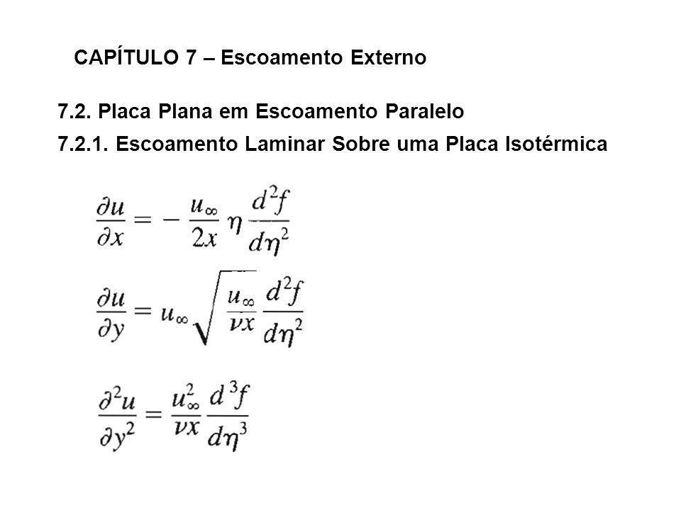 7.2. Placa Plana em Escoamento Paralelo CAPÍTULO 7 – Escoamento Externo 7.2.1. Escoamento Laminar Sobre uma Placa Isotérmica