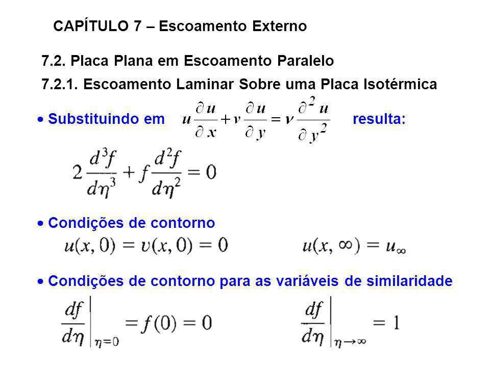 7.2. Placa Plana em Escoamento Paralelo CAPÍTULO 7 – Escoamento Externo 7.2.1. Escoamento Laminar Sobre uma Placa Isotérmica Substituindo em resulta:
