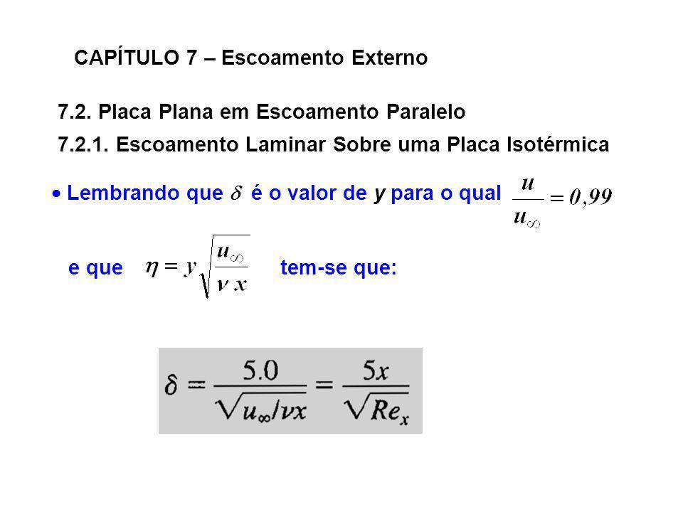 7.2. Placa Plana em Escoamento Paralelo CAPÍTULO 7 – Escoamento Externo 7.2.1. Escoamento Laminar Sobre uma Placa Isotérmica Lembrando que é o valor d