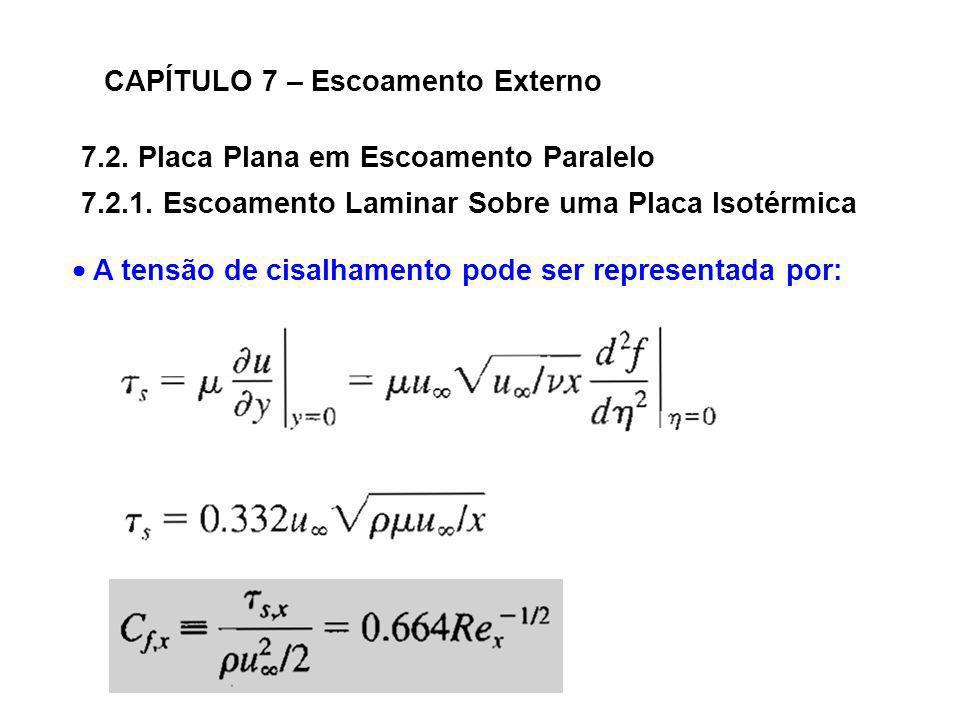 7.2. Placa Plana em Escoamento Paralelo CAPÍTULO 7 – Escoamento Externo 7.2.1. Escoamento Laminar Sobre uma Placa Isotérmica A tensão de cisalhamento