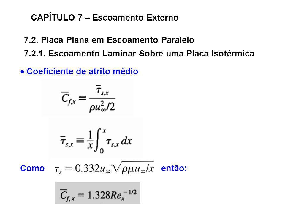 7.2. Placa Plana em Escoamento Paralelo CAPÍTULO 7 – Escoamento Externo 7.2.1. Escoamento Laminar Sobre uma Placa Isotérmica Coeficiente de atrito méd