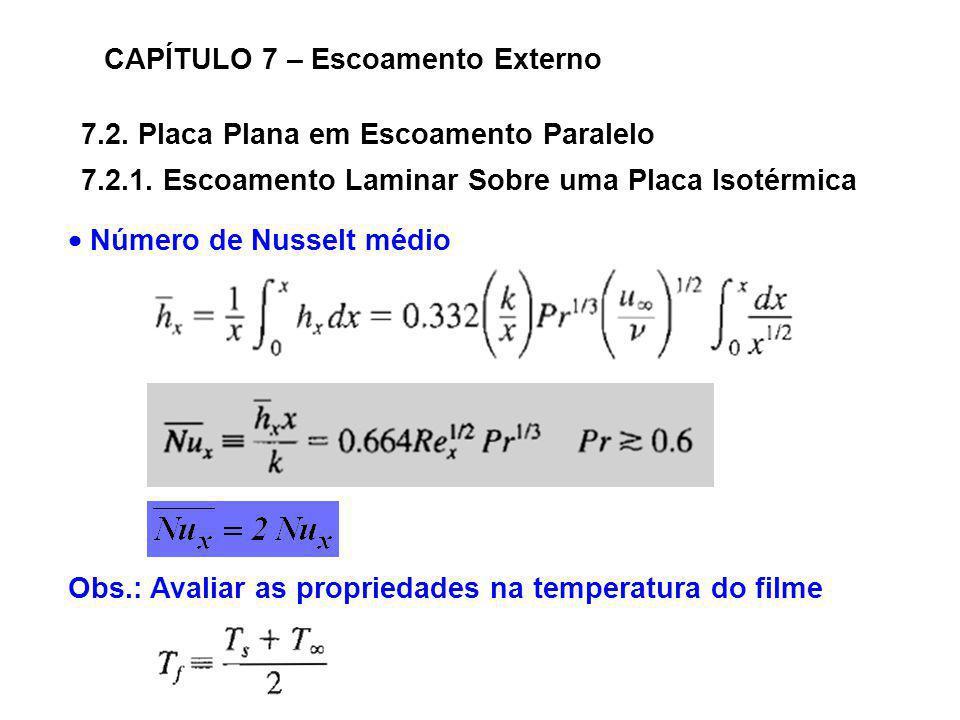 7.2. Placa Plana em Escoamento Paralelo CAPÍTULO 7 – Escoamento Externo 7.2.1. Escoamento Laminar Sobre uma Placa Isotérmica Número de Nusselt médio O