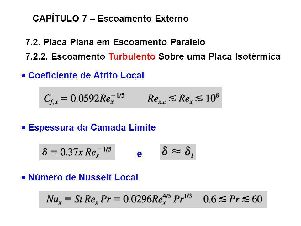 7.2. Placa Plana em Escoamento Paralelo CAPÍTULO 7 – Escoamento Externo 7.2.2. Escoamento Turbulento Sobre uma Placa Isotérmica Coeficiente de Atrito