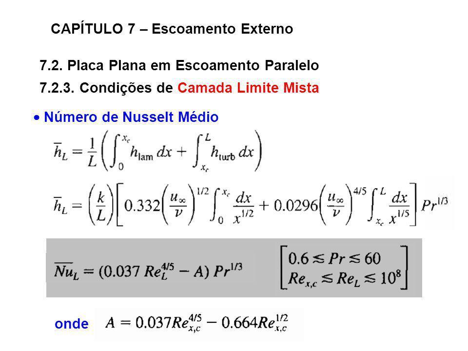 7.2. Placa Plana em Escoamento Paralelo CAPÍTULO 7 – Escoamento Externo 7.2.3. Condições de Camada Limite Mista Número de Nusselt Médio onde