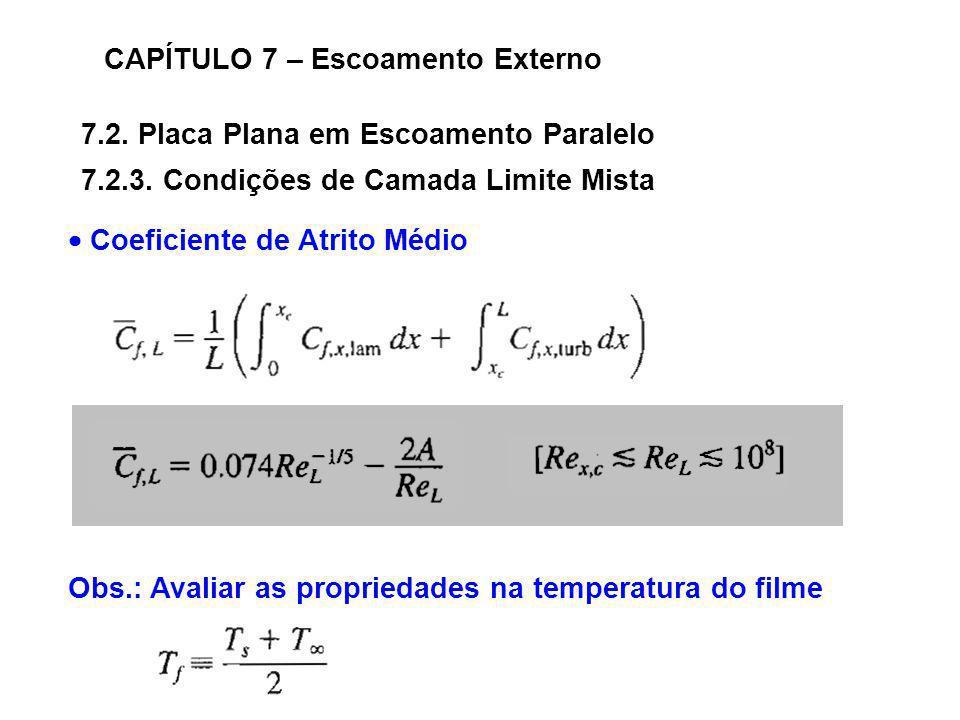 7.2. Placa Plana em Escoamento Paralelo CAPÍTULO 7 – Escoamento Externo 7.2.3. Condições de Camada Limite Mista Coeficiente de Atrito Médio Obs.: Aval