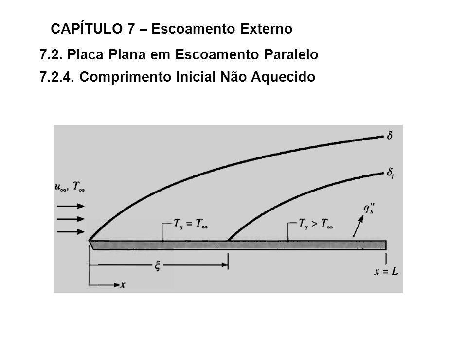 7.2. Placa Plana em Escoamento Paralelo CAPÍTULO 7 – Escoamento Externo 7.2.4. Comprimento Inicial Não Aquecido