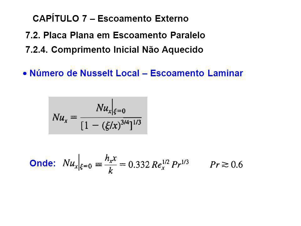 7.2. Placa Plana em Escoamento Paralelo CAPÍTULO 7 – Escoamento Externo 7.2.4. Comprimento Inicial Não Aquecido Número de Nusselt Local – Escoamento L