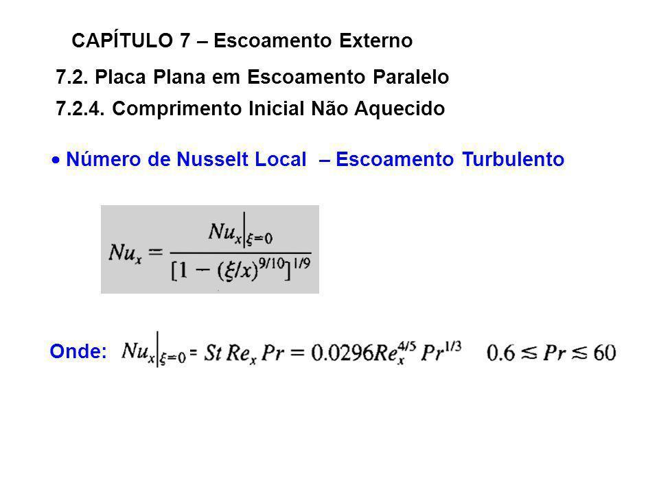 Número de Nusselt Local – Escoamento Turbulento Onde: 7.2. Placa Plana em Escoamento Paralelo CAPÍTULO 7 – Escoamento Externo 7.2.4. Comprimento Inici