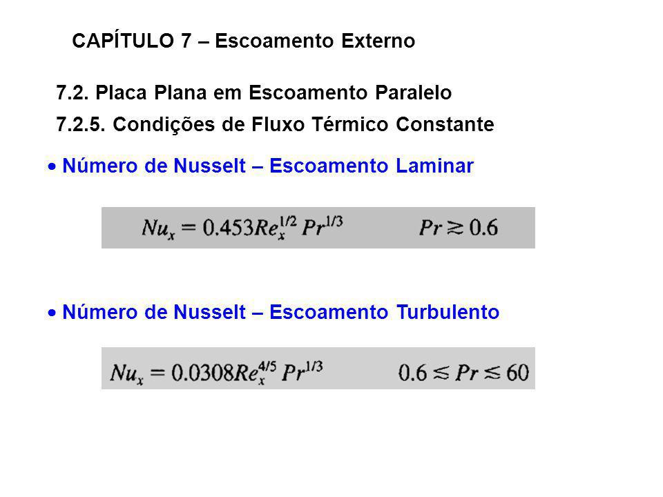 7.2. Placa Plana em Escoamento Paralelo CAPÍTULO 7 – Escoamento Externo 7.2.5. Condições de Fluxo Térmico Constante Número de Nusselt – Escoamento Lam